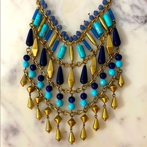 Stella & Dot Turquoise navy and gold boho necklace